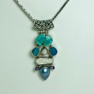 Jewelry - Opal, Pearl , Turquoise , Amethyst Silver Pendant